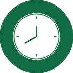 white clock icon in green circle