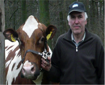 Antonius Richter with brown and white cow